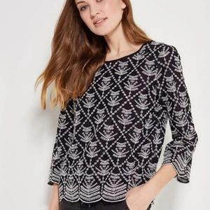 Gap Black Embroidered Eyelet Blouse